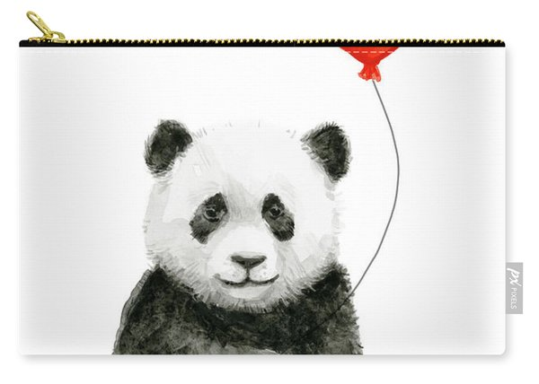 Panda Baby And Red Balloon Nursery Animals Decor Carry-all Pouch