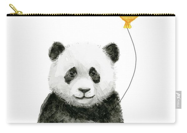Panda Baby With Yellow Balloon Carry-all Pouch