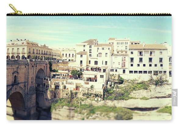 Carry-all Pouch featuring the photograph panorama of  Rondo in Spain by Ariadna De Raadt