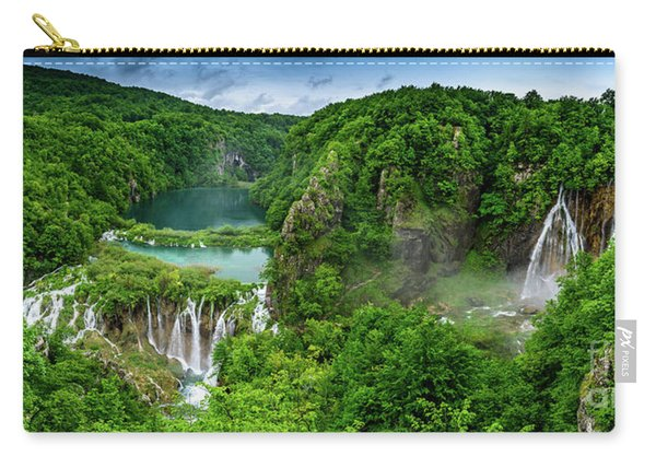 Panorama Of Turquoise Lakes And Waterfalls - A Dramatic View, Plitivice Lakes National Park Croatia Carry-all Pouch