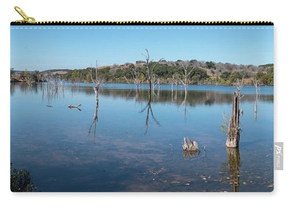 Panoramic View Of Large Lake With Grass On The Shore Carry-all Pouch