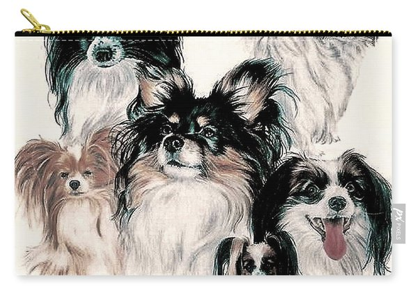 Papillon And Phalene Collage Carry-all Pouch