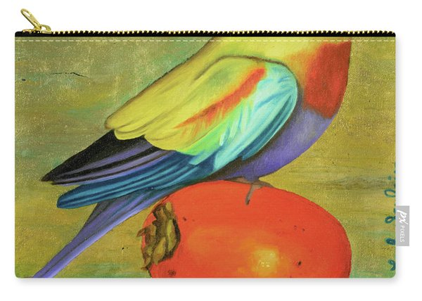 Parakeet On A Persimmon Carry-all Pouch