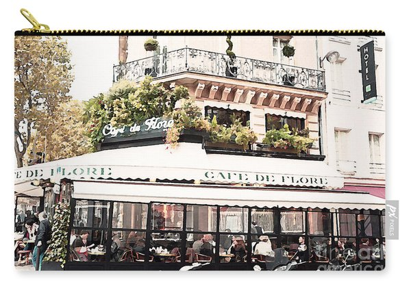 Paris Cafe De Flore Famous Landmark - Paris Street Cafe Restaurant  Carry-all Pouch