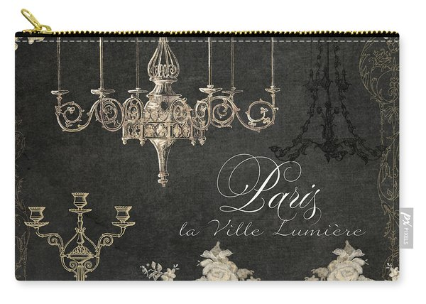 Paris - City Of Light Chandelier Candelabra Chalk Carry-all Pouch