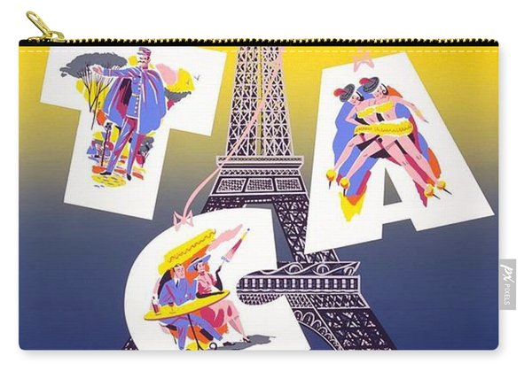 Paris - Fly Tca, Trans Canada Air Lines - Eiffel Tower - Retro Travel Poster - Vintage Poster Carry-all Pouch