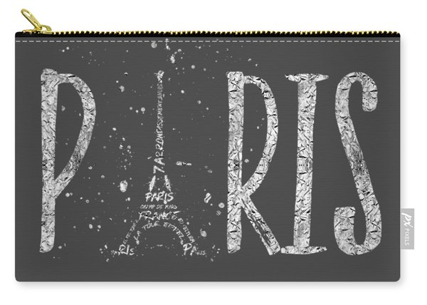 Paris Typography - Grey - Silver Splashes Carry-all Pouch