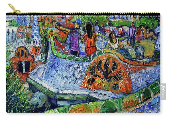 Park Guell Memories - Barcelona Impression Palette Knife Oil Painting Carry-all Pouch
