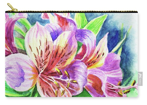 Parrot Peruvian Lilies Carry-all Pouch
