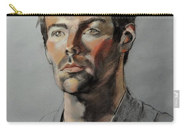 Pastel Portrait Of Handsome Guy Carry-all Pouch