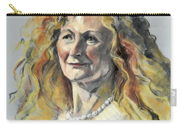 Pastel Portrait Of Woman With Frizzy Hair Carry-all Pouch