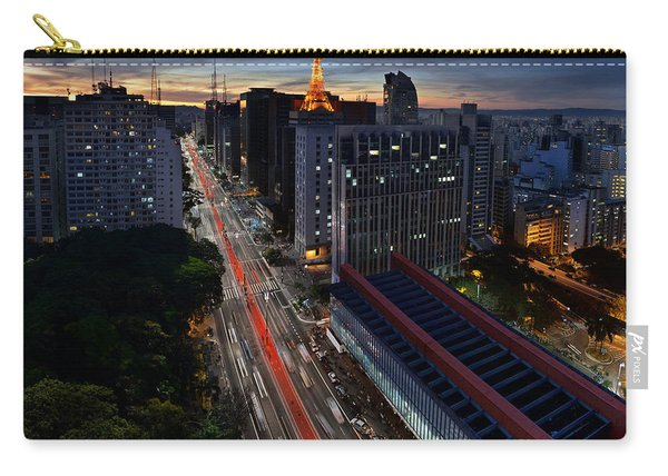 Paulista Avenue And Masp At Dusk - Sao Paulo - Brazil Carry-all Pouch