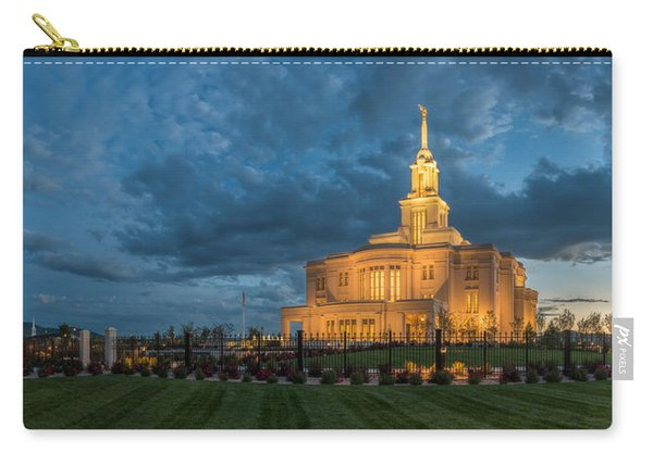 Carry-all Pouch featuring the photograph Payson Temple Panorama by Dustin  LeFevre