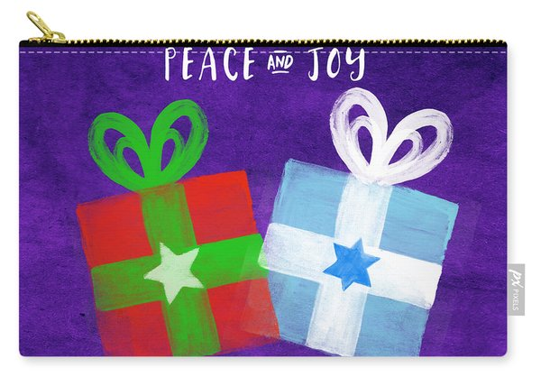 Peace And Joy- Hanukkah And Christmas Card By Linda Woods Carry-all Pouch
