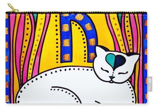 Peace And Love - Cat Art By Dora Hathazi Mendes Carry-all Pouch