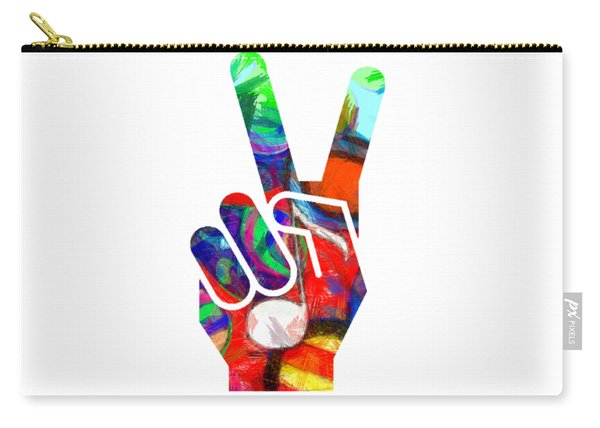 Peace Hippy Paint Hand Sign Carry-all Pouch