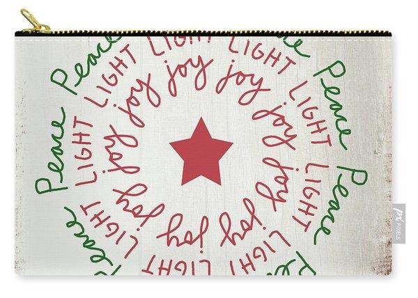 Peace Light Joy Wreath- Art By Linda Woods Carry-all Pouch