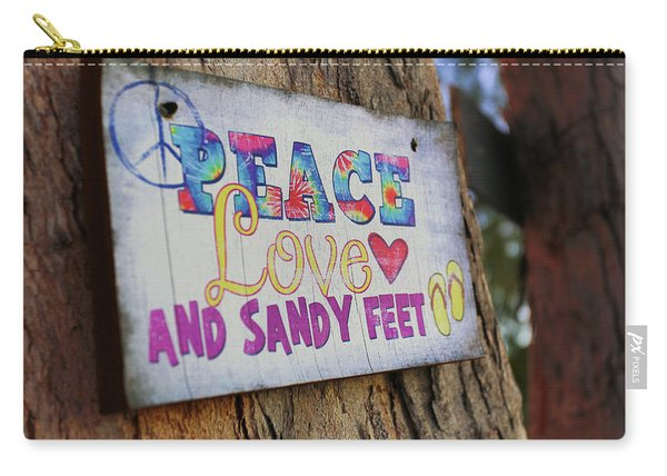 Peace Love And Sandy Feet Carry-all Pouch