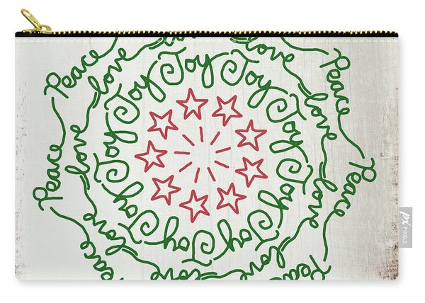 Peace Love Joy Wreath- Art By Linda Woods Carry-all Pouch