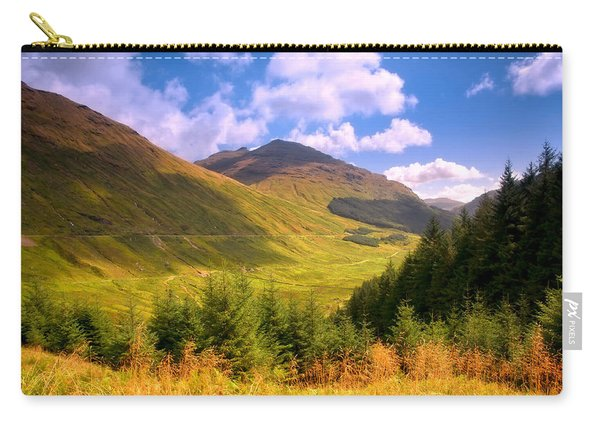 Peaceful Sunny Day In Mountains. Rest And Be Thankful. Scotland Carry-all Pouch