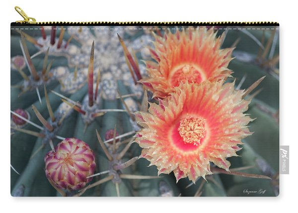 Peach Barrel Cactus Flowers II Carry-all Pouch