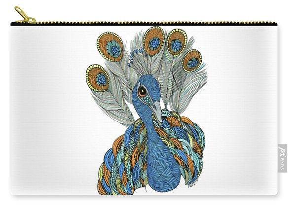 Carry-all Pouch featuring the drawing Peacock by Barbara McConoughey