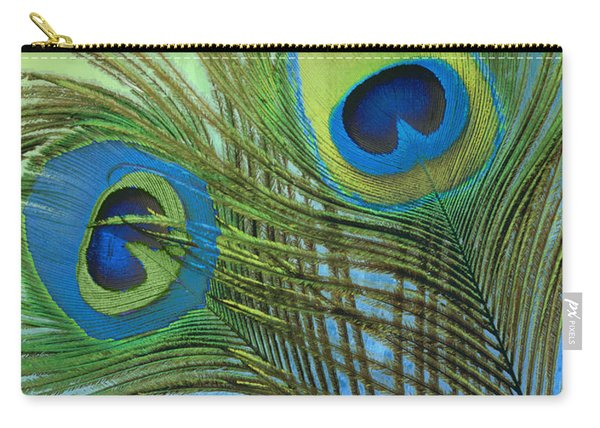 Peacock Candy Blue And Green Carry-all Pouch