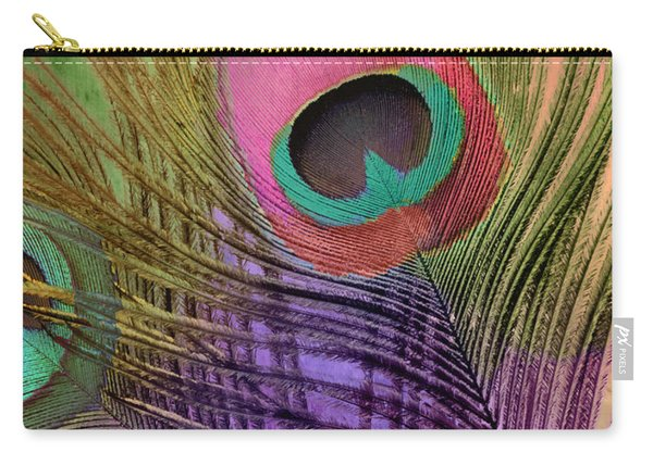 Peacock Candy Pink Green Coral Carry-all Pouch