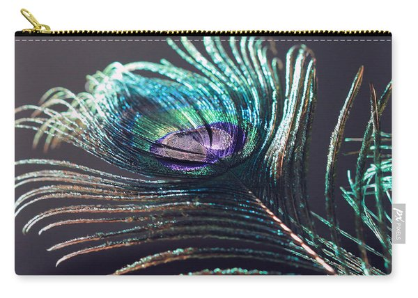 Peacock Feather In Sun Light Carry-all Pouch