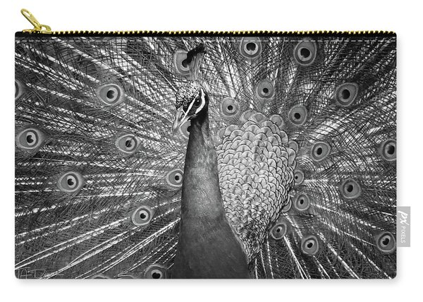 Peacock In Black And White Carry-all Pouch