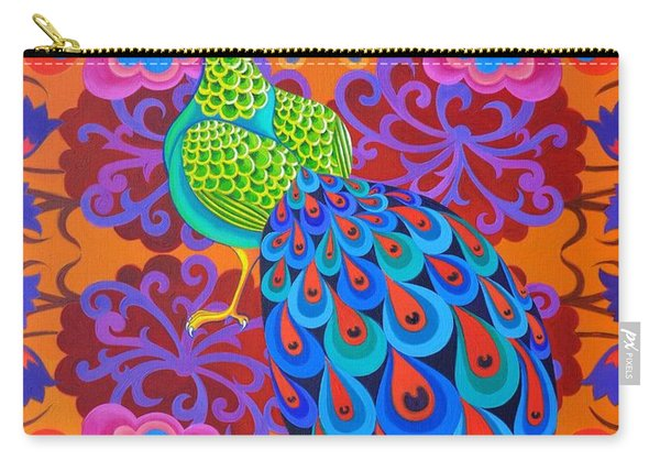 Peacock With Flowers Carry-all Pouch