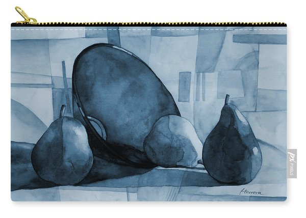 Pears And Blue Bowl On Blue Carry-all Pouch