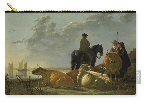 Peasants With Four Cows By The River Merwede Carry-all Pouch