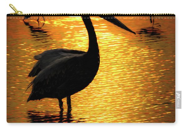Carry-all Pouch featuring the photograph Pelican And Avocets by Rob Graham