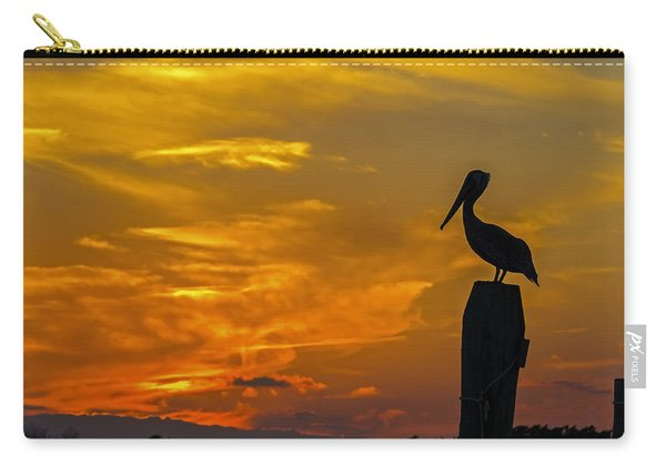 Pelican At Silver Lake Sunset Ocracoke Island Carry-all Pouch