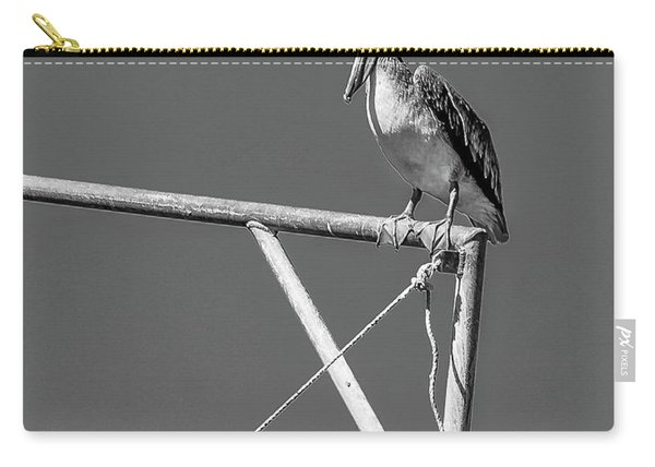 Pelican In Black And White Carry-all Pouch