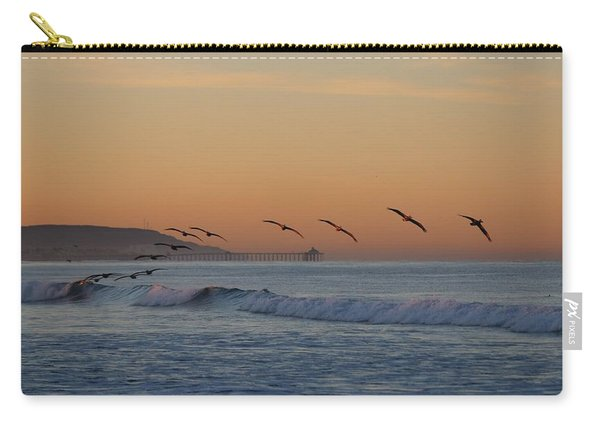 Carry-all Pouch featuring the photograph Pelican Wave - 4 by Christy Pooschke