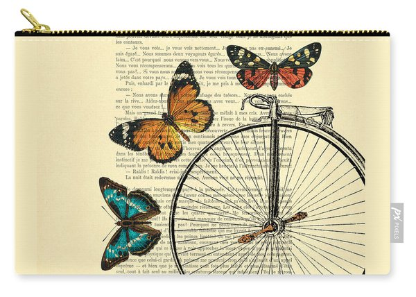 Penny Farthing With Butterflies Carry-all Pouch