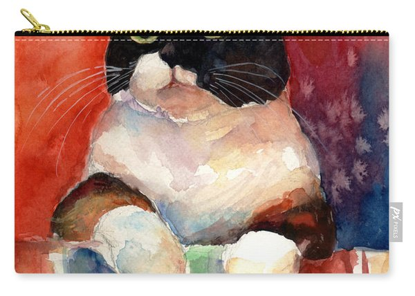 Pensive Calico Tubby Cat Watercolor Painting Carry-all Pouch