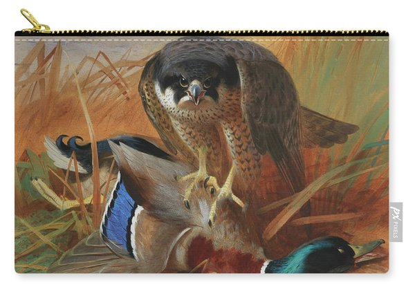 Peregrine Falcon And Mallard Duck On A Sandbank Carry-all Pouch