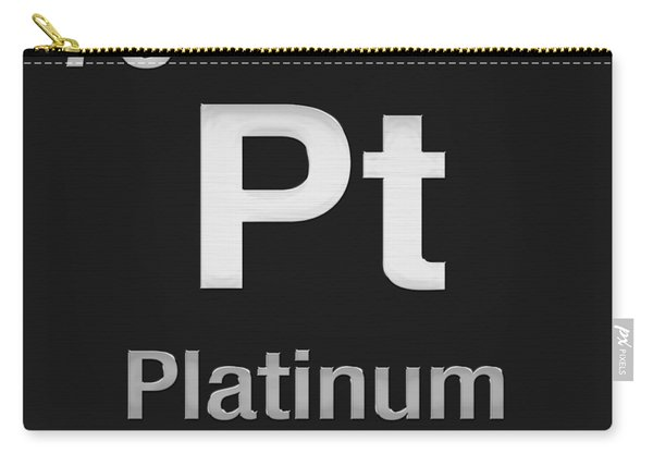 Periodic Table Of Elements - Platinum - Pt - Platinum On Black Carry-all Pouch