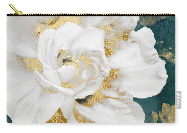 Petals Impasto White And Gold Carry-all Pouch