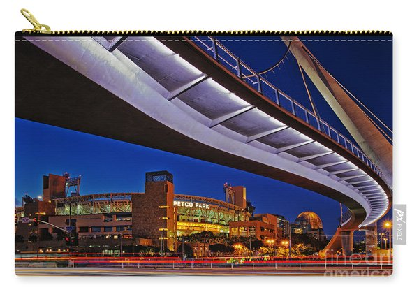 Carry-all Pouch featuring the photograph Petco Park And The Harbor Drive Pedestrian Bridge In Downtown San Diego  by Sam Antonio Photography