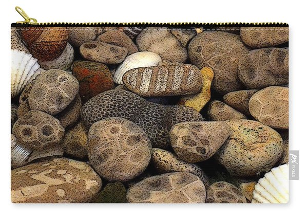 Petoskey Stones With Shells L Carry-all Pouch