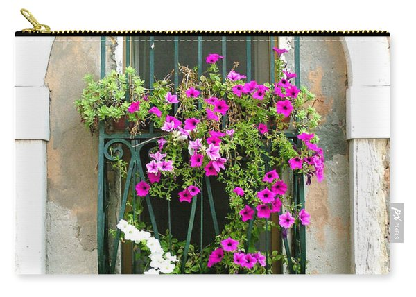 Petunias Through Wrought Iron Carry-all Pouch