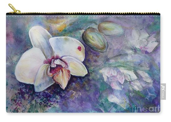 Carry-all Pouch featuring the painting Phalaenopsis Orchid With Hyacinth Background by Ryn Shell