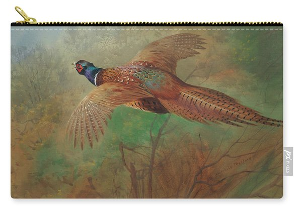 Pheasant In Flight Carry-all Pouch