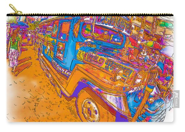 Philippine Girl Walking By A Jeepney Carry-all Pouch