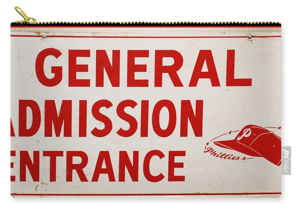 Phillies General Admission Sign From Connie Mack Stadium Carry-all Pouch