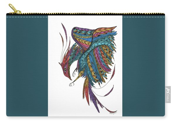 Carry-all Pouch featuring the drawing Phoenix Landing by Barbara McConoughey